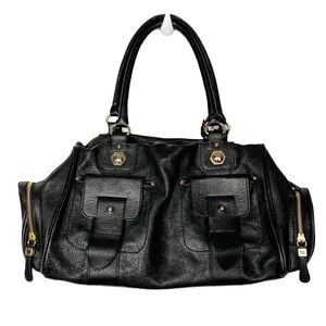 Maxx New York black leather satchel bag and cover